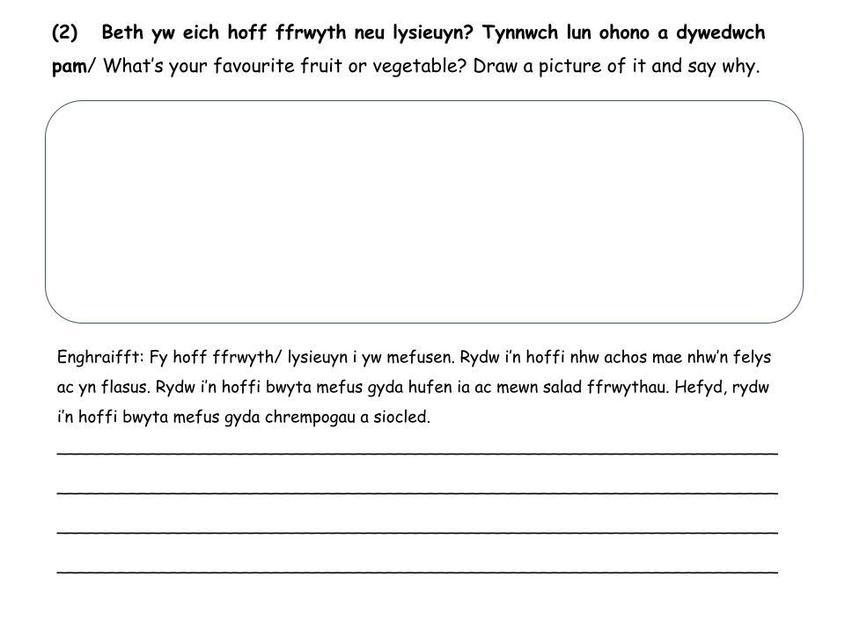(2) Beth yw eich hoff ffrwyth neu lysieuyn?/ What's your favourite fruit or vegetable?