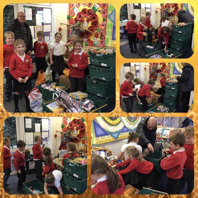 Harvest food donations for Flintshire Foodbank.