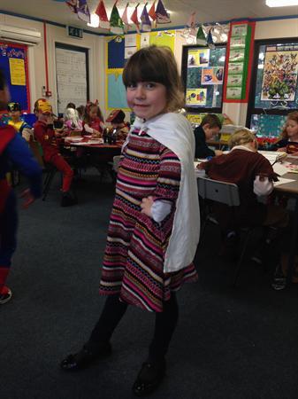 Enid is dressed as Pattern Girl!