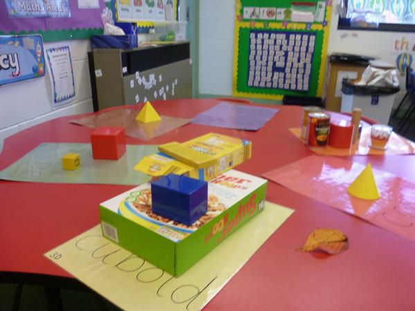 3D shapes- sorting objects into the right 3d shape