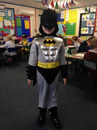 Neirin is dressed as Batman!