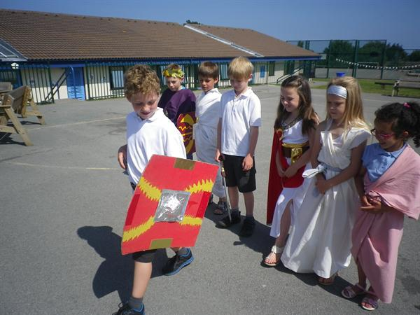 Roman Day - drilling on the yard