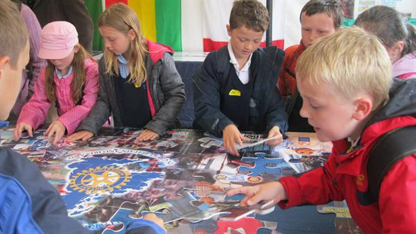 Working as a group at the Eisteddfod