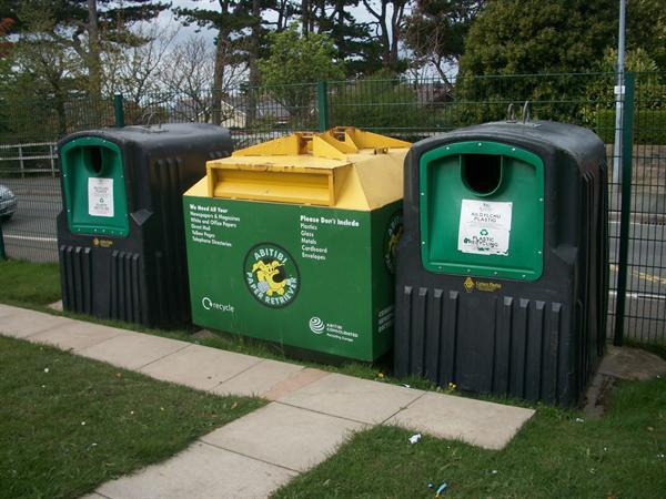 Here are our plastic and paper recycling banks