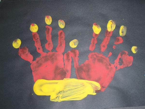 We made menorahs with our handprints.