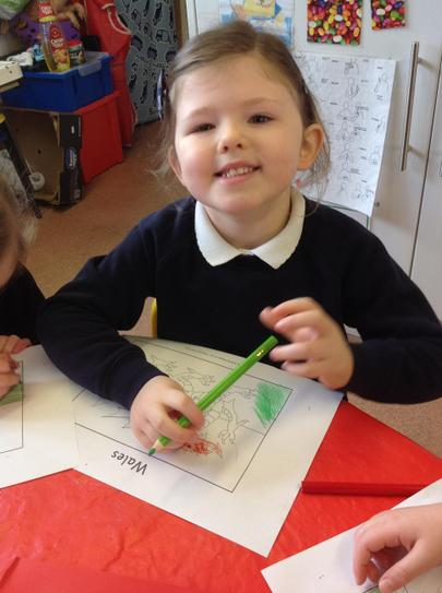 we have been colouring the Welsh flag