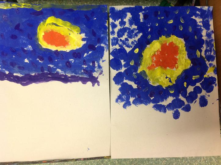 Using colours Yellow Blue and Orange