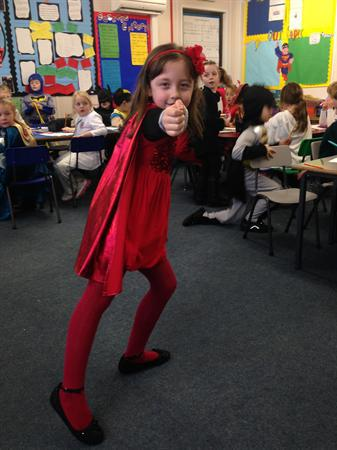 Hannah is dressed as Lava Girl!