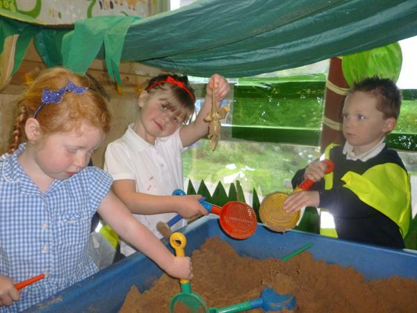 Our dino dig role play area.