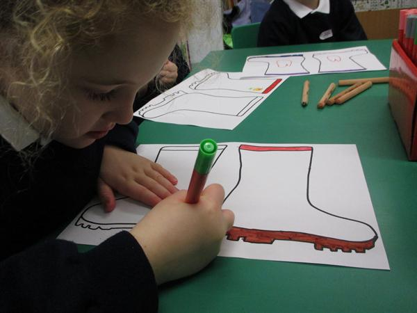 Designing our wellies.