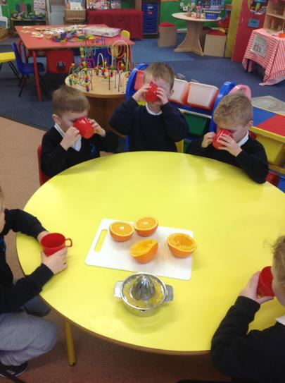 we made some lovely orange juice to drink