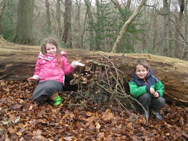 We've built our shelter against a tree!
