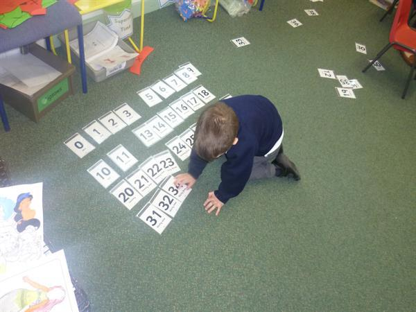 NF/MD- practising numbers to 100 in order.