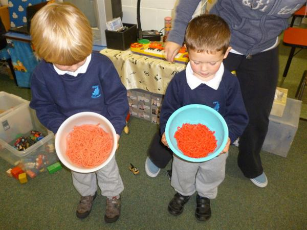 We used food dye to colour pasta and spaghetti!