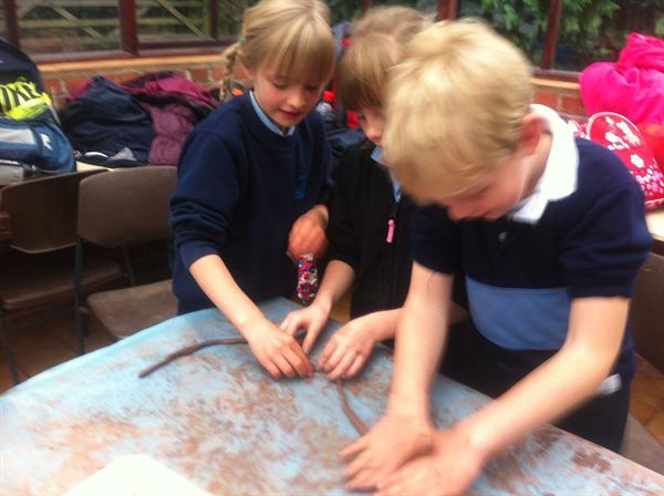 We made wonderful bracelets and clay pots