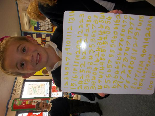 Scott writing his numbers! Well done!