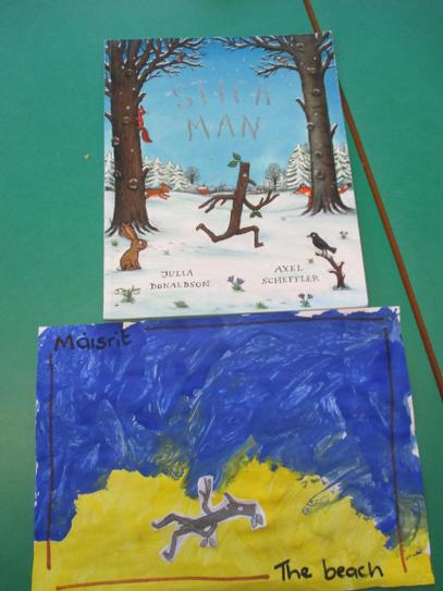 Painting a picture of Stick man.