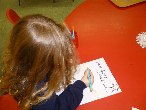 Writing letters to Santa.