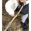 Whittling sticks in Forest School sesison.