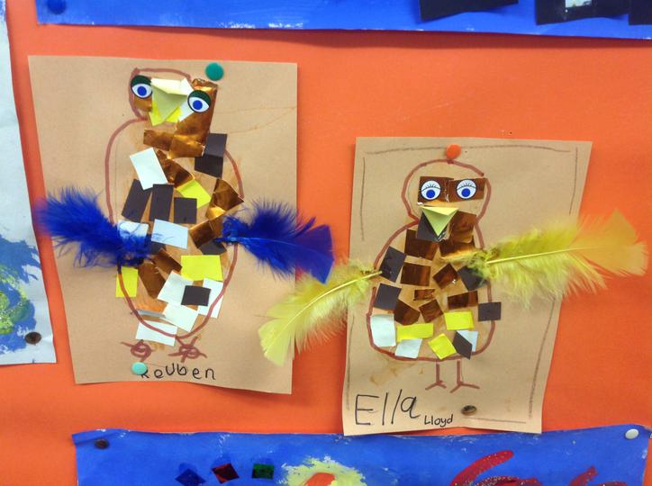 Materials- Feathers, Shiny paper and Brown felt