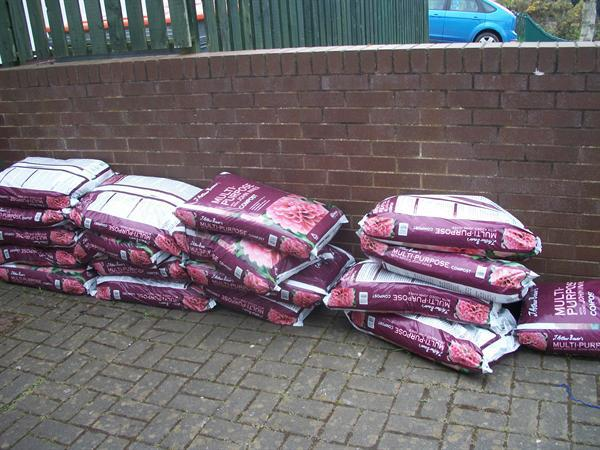 Here is all our compost ready to plant into