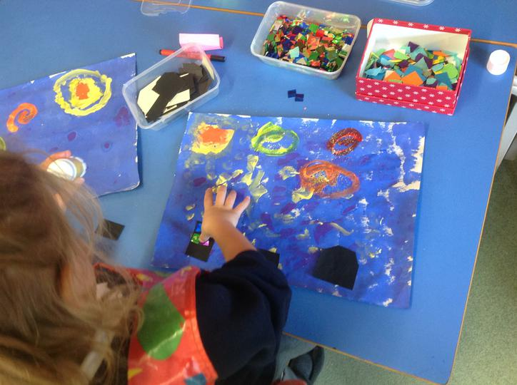 Adding strips of color to our paintings