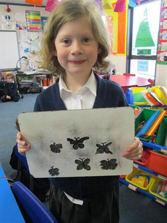 Mira drew some amazing butterfly shadows!