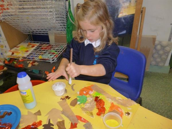 Using different materials to create Autumn collage