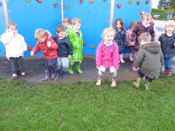 splashing in puddles up to our middle!!