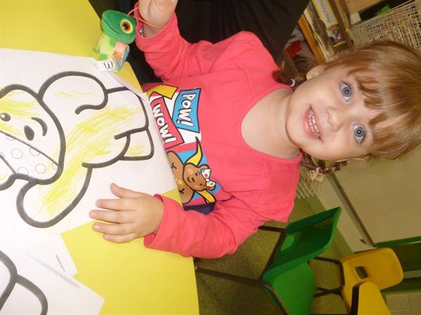 Colouring Pudsey pictures.