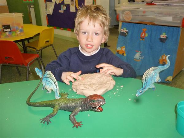 Making playdough dinosaurs