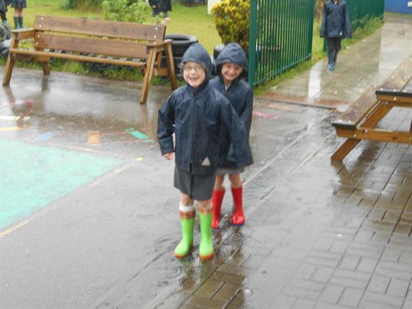 Outside in the rain!
