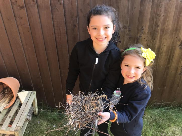 They found a bird's nest in their garden.
