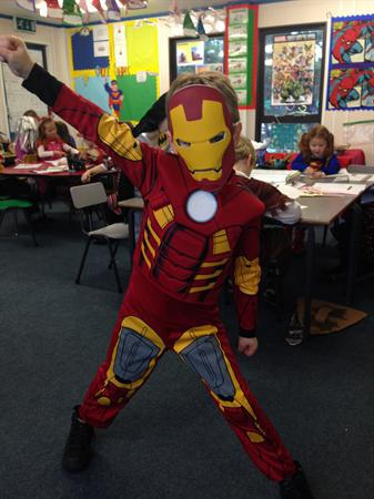 Oliver is dressed as Iron Man!