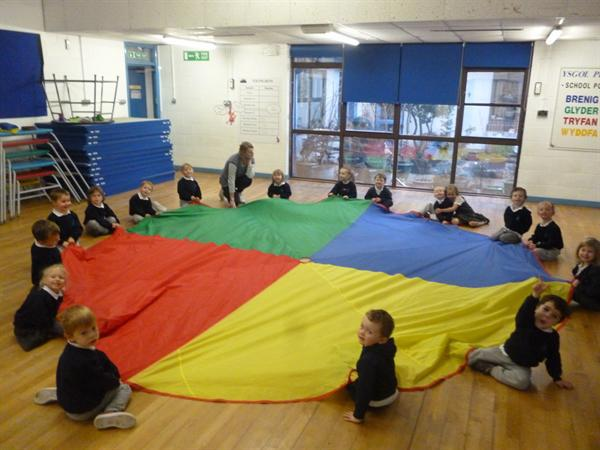 Team work in PE sessions - the parachute