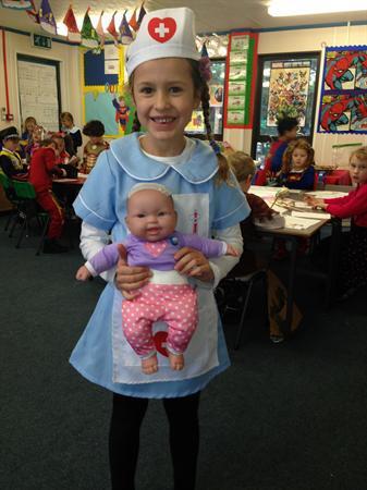 Millie is dressed as Nurse Higham!