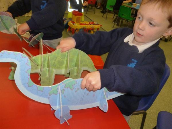 Building 3D dinosaurs.