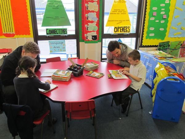 Reading to the rugby players