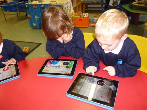 Using the i pads to develop counting skills.
