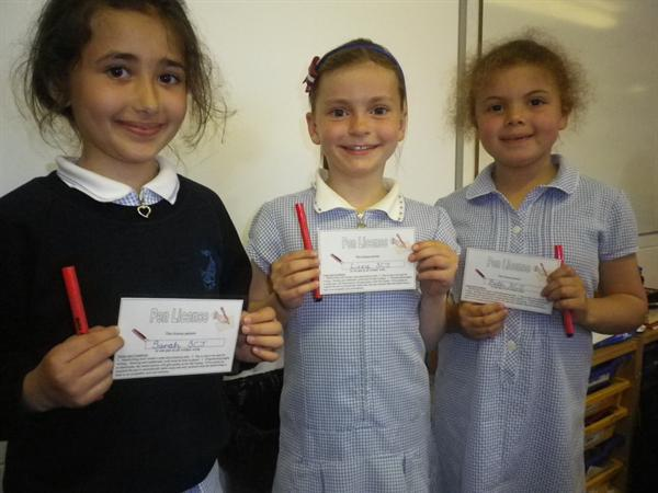 The first Pen Licenses in Year Three, well done