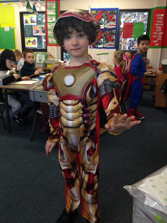 Tyler is dressed as Iron Man!
