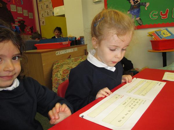 Practising our reading.