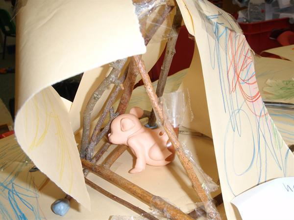 Stick houses for the three little pigs