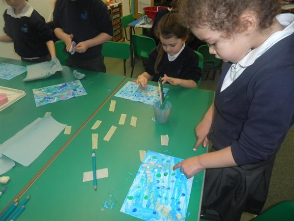 finger printing pictures inspired by Monet