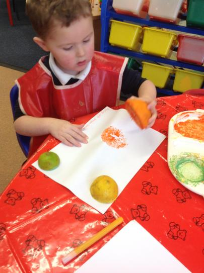 we liked painting with the fruit