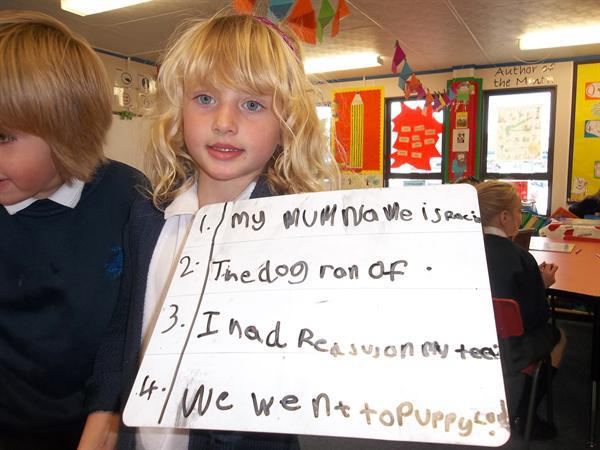 Niamh practising her sentence writing! Well done!