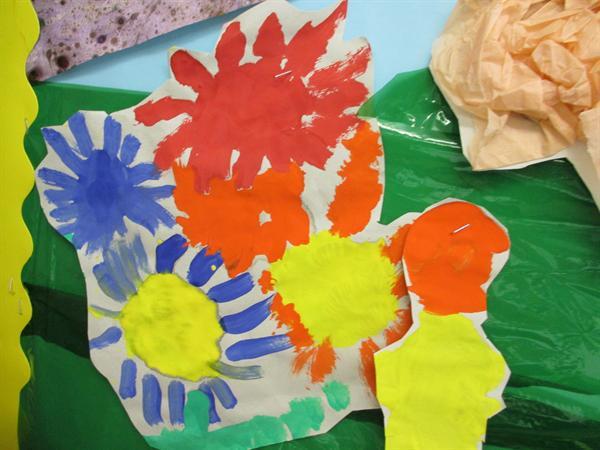 Flowers using paint
