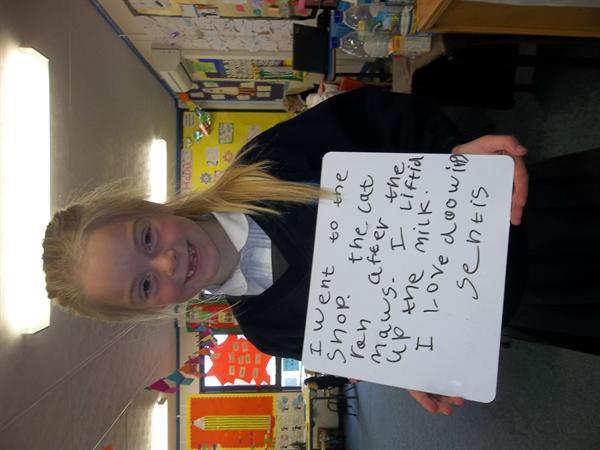Larni has been practising writing sentences too!