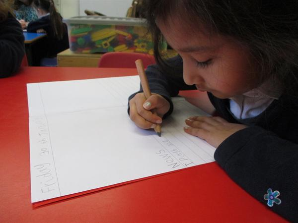 Practising our writing.
