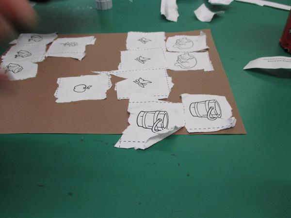Practising scissor skills, then sorting!
